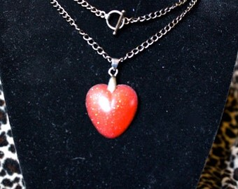 Pink Glitter Heart Necklace