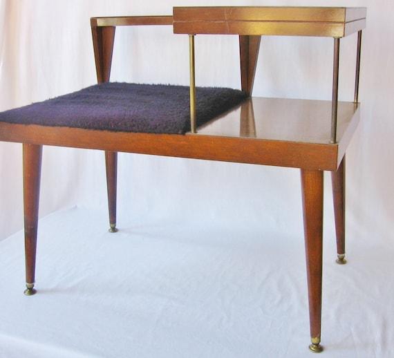 Mid Century Modern Table Telephone Bench Danish