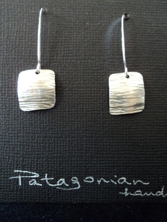 Fine silver squared concaved hand hammered earrings Free Shipping in the US