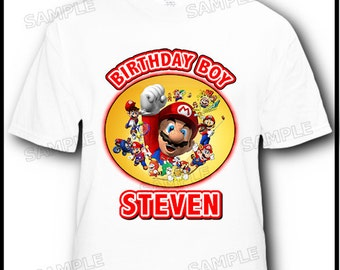 Personalized Super Mario Bros Birthday T-Shirt -- More Designs Available Inside --