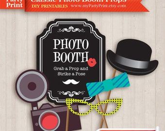 Photobooth Props (Classic) - Party Printable with digital mustache lips glasses photo booth sign for your moustache party or wedding props