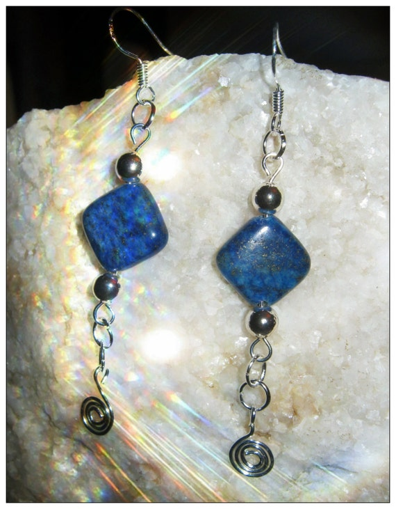 Handmade Silver Hook Earrings with Square Lapis Lazuli by IreneDesign2011