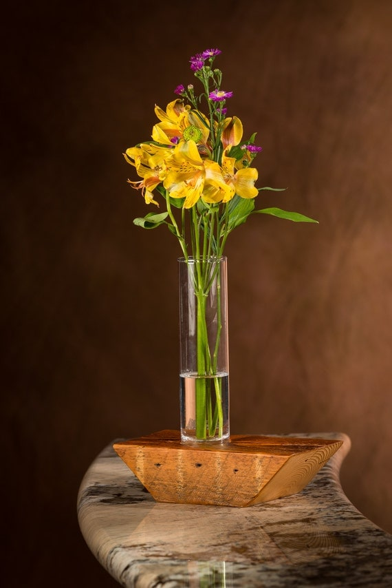 Reclaimed wood bud vase pine rustic