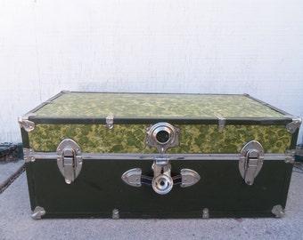 Large Vintage Olive Green Metal Trunk