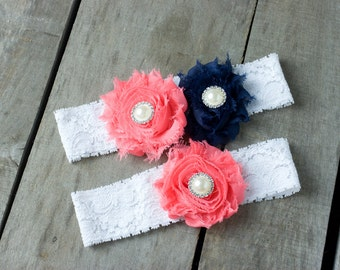 Coral and Navy Wedding Garter Set, Bridal Garter, Wedding Garter, Shabby Chic Garter, Satin Garter