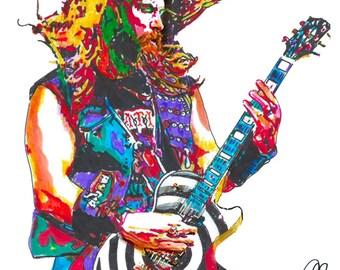 "Zakk Wylde, Ozzy, Guitar Player, Guitarist, Hard Rock, Heavy Metal, POSTER from Original Drawing 18"" x 24"" Signed & Dated by Artist w/COA"