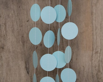 Paper garland bunting, wedding garland decor, circle garland, party home decor, nursery banner, nursery garland, photo backdrops pastel blue