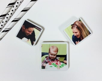 Set of 3 Magnet Photo Personalized Wood of your baby, family pets great gift grandparents mother's day gift