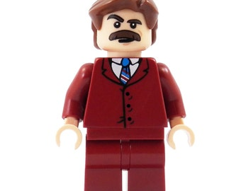 70's News Anchor (Anchorman) - miniBIGS Custom Figure made from Genuine LEGO Minifigure Elements