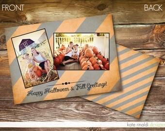 Photo Halloween Card - Customized - Printable - Double-Sided - Stripes