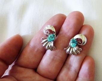 Mid century Bond Boyd sterling and crystal screw back earrings