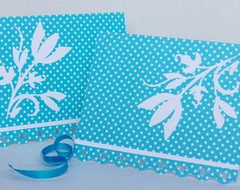 Blue Polka-Dot Floral Notecards - Set of Four