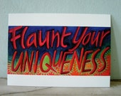 Word Art Postcard from original painting Flaunt Your Uniqueness