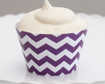 INSTANT DOWNLOAD – Printable Violet Chevron Cupcake Wrapper – Printable Cupcake Wrappers