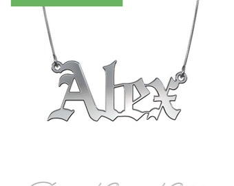 "Gothic Name Necklace in Sterling Silver (1.0mm Thick) - ""Alex"" design"
