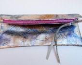 Paint splattered metallic lamb-skin leather clutch // contrast magenta zipper // handmade zipper pull