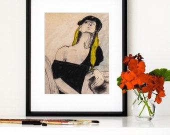"Woman Wearing Beret, Giclee Print, Charcoal Sketch, Boho, Pastel, Black, Yellow, Figure Drawing, 1970s, Shabby Chic, 8"" X 10"" - ""Christine"""