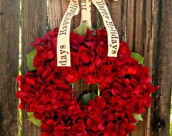 Christmas Wreath - Red Hydrangea Wreath - Wreath  - Christmas Decor - Holiday Decor - Door Wreath -