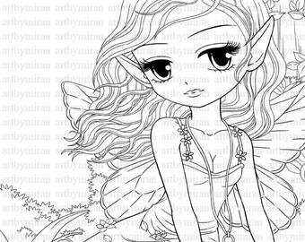 stamp big eye doll coloring page instant download line art for card