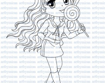 digital stamp lollipop leslie digi stamp coloring page printable line art for - Lollipop Coloring Pages Printable