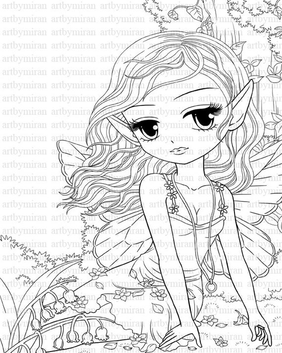 Fairy Digital Digi Stamps -Shaylee, Fantasy digi stamp, Big Eye Doll Coloring Page,  Instant Download Line Art for Card