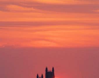 """Sunrise, National Cathedral,D.C: 7""""x10"""" archival print signed and matted in 11""""x14"""" matte (larger sizes available)"""