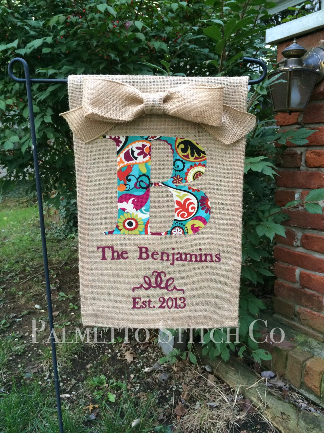 Personalized Burlap Garden Flag Monogram With Family Name
