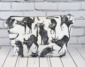 Black Cat Makeup Bag, Cosmetic Bag,