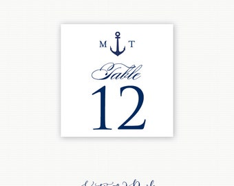 Anchor Table Number, Anchor Monogram Nautical Wedding / Rehearsal Dinner Table Number, Printed Table Numbers
