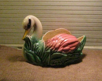 SWAN PLANTER  1950's 12 x 9 inches American Bisque