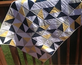 Beautiful Blue, Grey, Yellow, and White Triangle Modern Baby Quilt