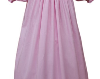 Herman and Lily Munster hand smocked pink bishop dress with puffy short sleeves 17601
