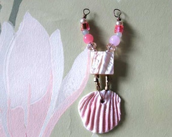 Handmade Porcelain Shell Pendant, Vintage Mother of Pearl, Beaded, Pretty, Pink, Handmade Supplies