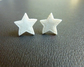 Pearl Shimmery White Star Cabochon Stud Earrings Nickel Free Posts