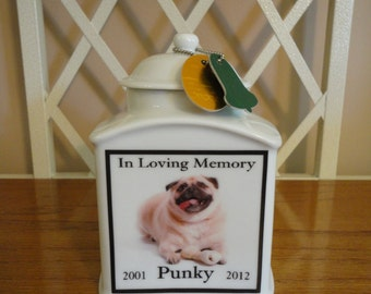"Pet  Urn, Memorial ""Personalized"", Dog, Cat, Photo Urn, Add photo, poem, or clipart, Name, Dates"
