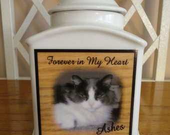 """Memorial, Pet Urn """"Personalized"""", Cat, Dog, Photo Urn, Add photo or poem, Name, Dates"""