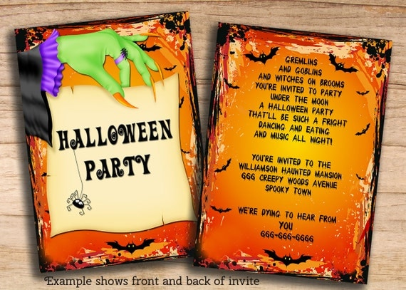 items similar to printable halloween party invitations