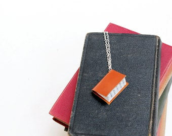 Bright Orange Book Necklace - Upcycled by Hand from Shiny Orange Leather - Miniature Literature Book Jewellery - Bright Contrasting Colour