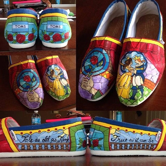OSTS Beauty and the Beast Stained Glass Toms- Hand Painted and Sealed