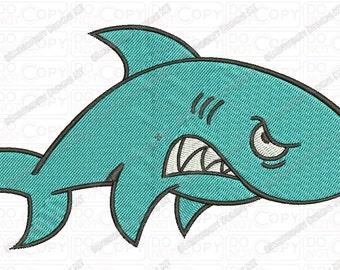 Angry Shark Embroidery Design in 2x2 3x3 4x4 and 5x7 Sizes