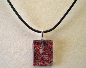 Red and Silver Glass Pendant