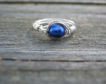 Blue pearl and silver plated wire ring size 7.5, wire wrapped ring, blue and silver ring