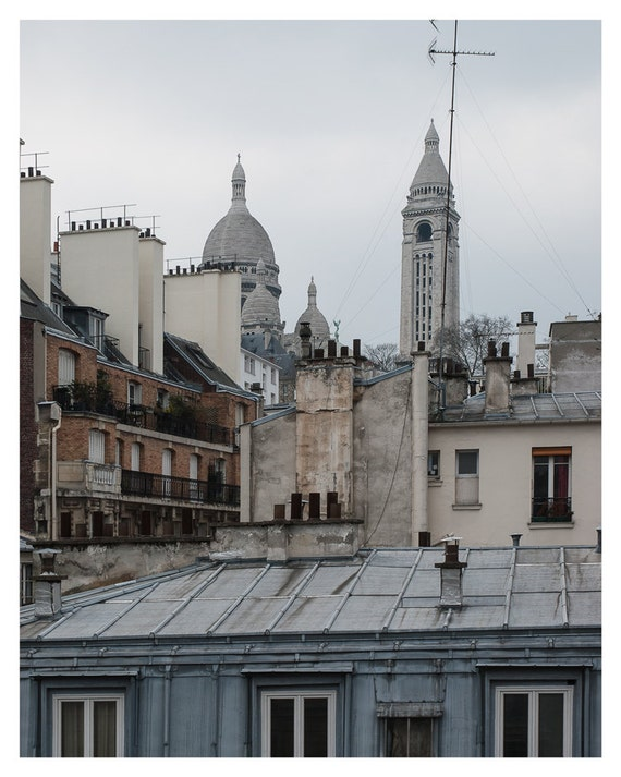 Paris decor, Photography, Basilique du Sacre Coeur, France, Fine art print, View from balkony, 5x7, 8x10, reddish