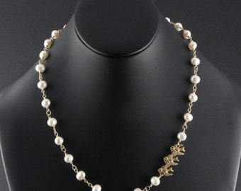 Pearl Necklace, White Freshwater Pearl and 14Kt Gold Filled Wire Wrapped Necklace with Birds