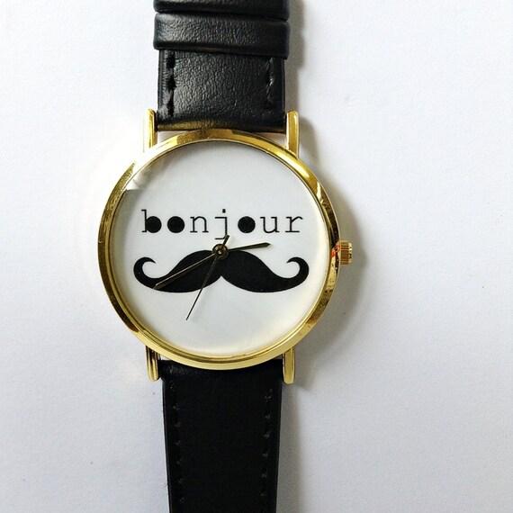 Bonjour Moustache montre, montre en cuir de Style Vintage, femmes montres, montres unisexe, copain Black Watch