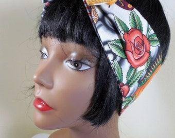 Pin up Headband,  Rockabilly Headband, Chicana headband, latina, vlv,, bandana, scarf, azteca