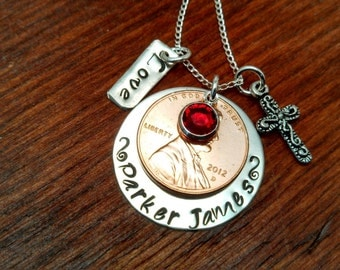 Sterling silver penny/swarovski birthstone Mom necklace-Year of birth handstamped personalized-Mother's necklace-New Mom gift-Penny necklace