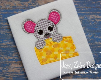 Mouse Pet with Cheese Appliqué embroidery design - mouse appliqué design