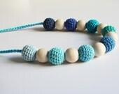 Crochet nursing necklace - Teething toy - teething necklace -  baby teether -  crochet teether