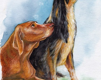 Dogs.Original Painting, Watercolor, Handpainted, 7,6 x11,6 inch. NOT a print. Tatiana-Art. Dog,lovely dog,home decor
